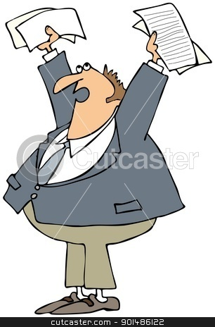 Upset Man Holding Papers Up stock photo, This illustration depicts an upset businessman holding papers up in the air. by Dennis Cox