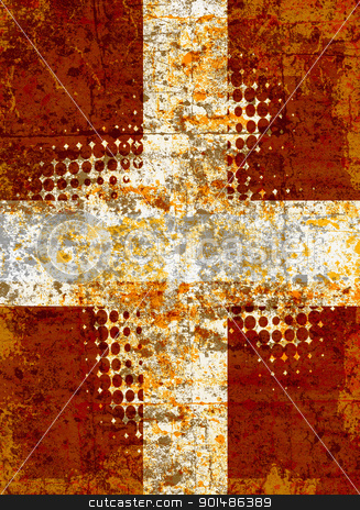 Grunge cross stock photo, Grunge cross with halftone pattern by steve ball