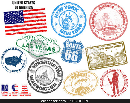 Stamps with United States of America stock vector clipart, Set of grunge stamps with United States of America, vector illustration by radubalint