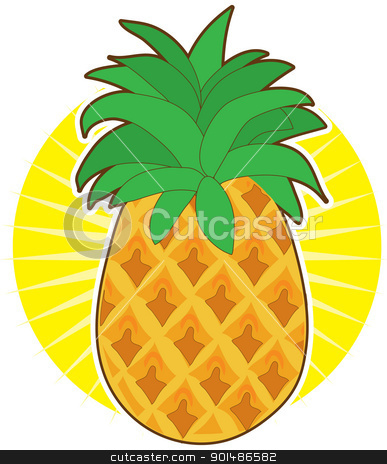 Pineapple Sun stock vector clipart, A glorious pineapple with a green top, sits on a sunburst background. by Maria Bell
