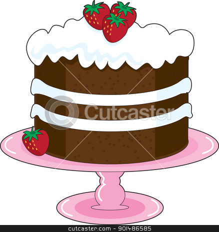 Strawberry Shortcake stock vector clipart, Strawberry Shortcake with whipped cream icing and fresh strawberries, is displayed on a pink cake plate with pedestal. Mmmm, yummy! by Maria Bell