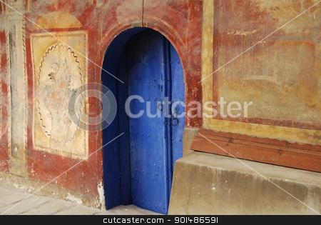 Blue monastery church door