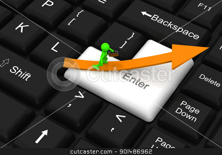 Way to success on enter key stock photo, Way to success on enter key by dileep