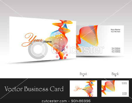 colorful abstract wave background vector business card stock vector clipart, colorful abstract wave background vector business card with presentation by Abdul Qaiyoom