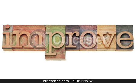 improve - motivation concept  stock photo, improve - motivation concept - isolated text in vintage wood letterpress printing blocks, stained by color inks by Marek Uliasz