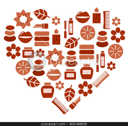 Abstract heart shape silhouette with wellness icons stock vector clipart, Brown heart with fashion and wellness accessories. Vector Illustration by BEEANDGLOW