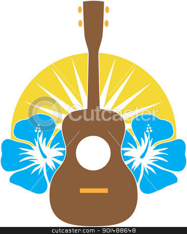 Ukulele Hibiscus stock vector clipart, A stylized ukulele, sitting on a background of Hibiscus flowers over a sunburst semi-circle. by Maria Bell