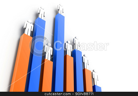 worker on business 3d graph stock photo, worker on business 3d graph by dileep