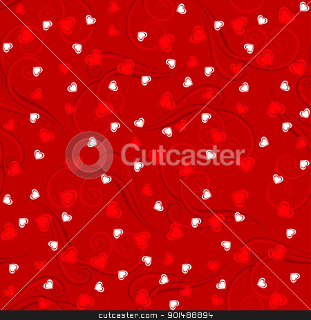 Valentine hearts background stock photo, Valentine Heart Patterns. Cool Illustration for design on red bacground by dvarg