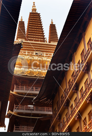 Golden Temple Wooden Buildings Roof Top Jing An Temple Shanghai  stock photo, Golden Temple, Wooden Buildings, Roof Top Jing An Tranquility Temple Shanghai China Richest Buddhist temple in Shanghai by William Perry