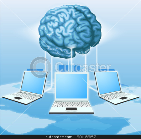 Computer brain computing concept stock vector clipart, Computers connected to central brain, concept for distributed computing, crowd sourcing or other internet metaphor. by Christos Georghiou