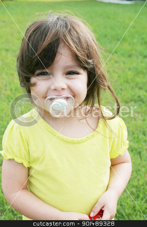 baby girl with pacifier  stock photo, baby girl with pacifier   by dacasdo