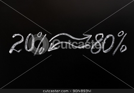 Pareto eighty-twenty principle stock photo, Pareto eighty-twenty principle written in chalk on a blackboard by John Young