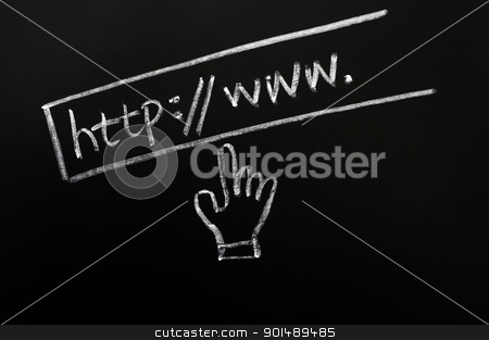Website address stock photo, Website address drawn in chalk on a blackboard by John Young