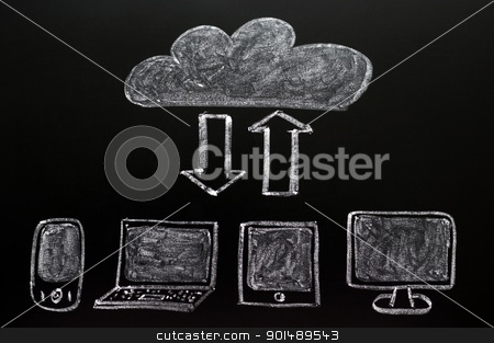 Cloud computing concept stock photo, Cloud computing concept drawn on a blackboard by John Young