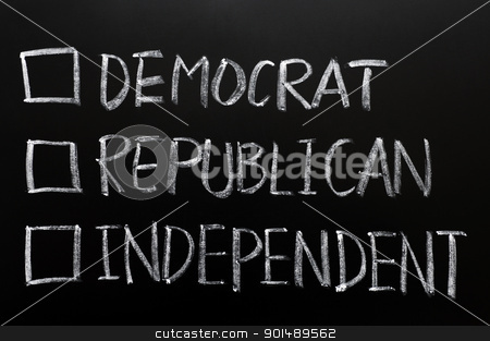 Check boxes of democrat, republican and independent stock photo, Check boxes of democrat, republican and independent written on a blackboard by John Young