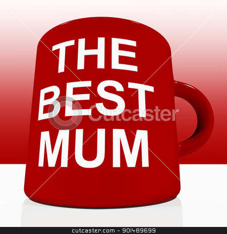 Red Best Mum Mug On Table Showing A Loving Mother stock photo, Red Best Mum Mug On Table Showing Loving Mother by stuartmiles