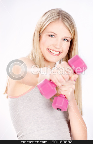 happy fitness woman stock photo, Smiled blond hair woman doing fitness exercises by iMarin