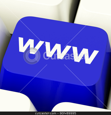 Www Computer Key In Blue Showing Online Websites Or Internet stock photo, Www Computer Key In Blue Showing Online Website Or Internet by stuartmiles
