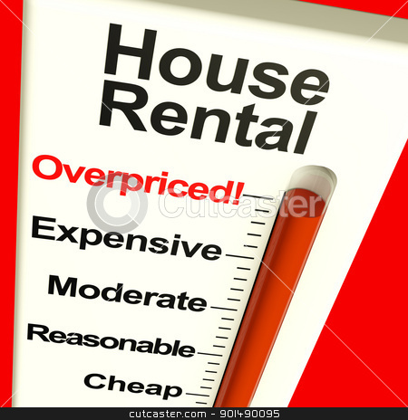 House Rental Overpriced Monitor Showing Expensive Housing Costs stock photo, House Rental Overpriced Monitor Showing Expensive Housing Cost by stuartmiles