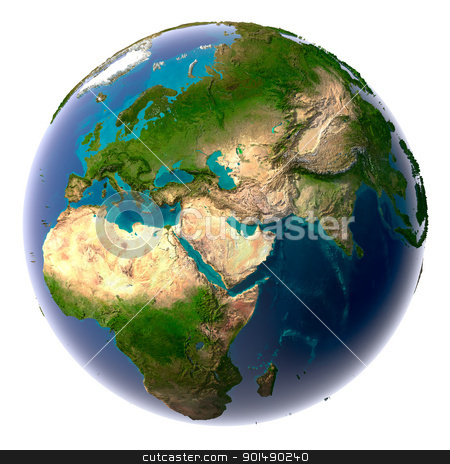 Realistic Planet Earth with natural water stock photo, Earth with translucent water in the oceans and the detailed topography of the continents by Antartis