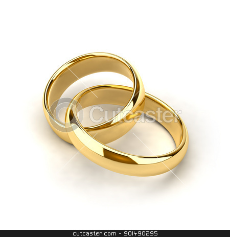 Wedding rings stock photo, Two wedding rings, like links in the chain are interconnected by Antartis