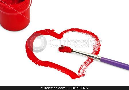 Painted colors and gouache heart stock photo, The heart, red painted with gouache, brush, jar with gouache isolated on white background by rezkrr