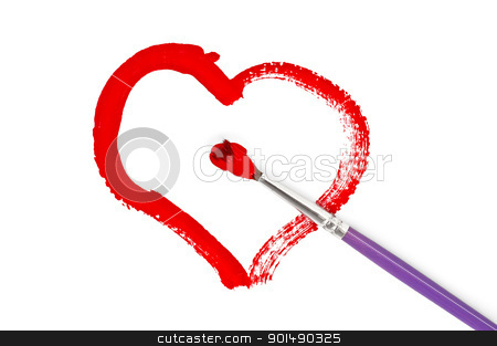 Painted colors heart stock photo, The heart, red painted with gouache, brush isolated on white background by rezkrr