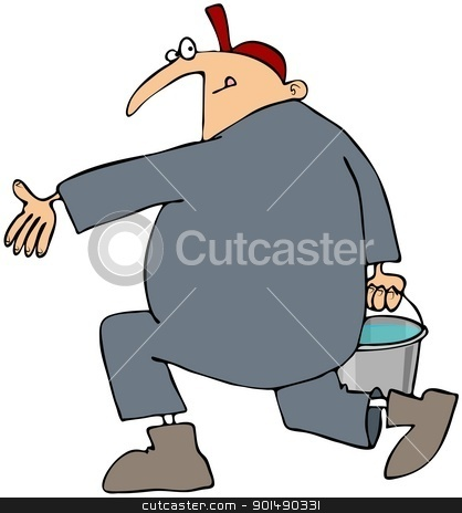 Man Running With A Bucket stock photo, This illustration depicts a man wearing coveralls running with a bucket of water. by Dennis Cox