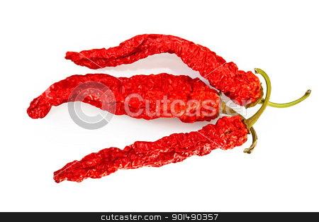 Three pods of dried hot peppers stock photo, Three pods of dried hot red pepper isolated on white background by rezkrr
