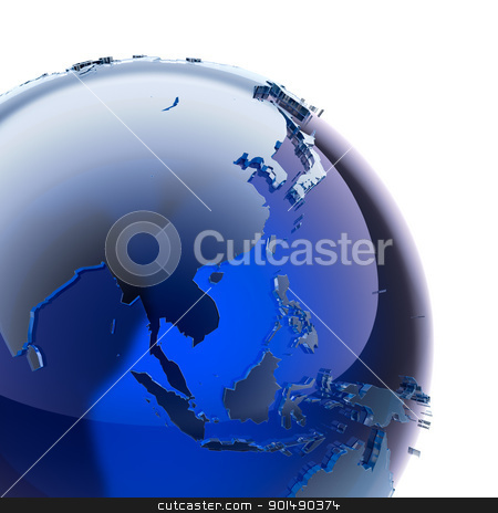 Blue glass globe stock photo, A fragment of blue glass globe with stylized faceted continents of frosted glass, a little stand out from the ocean surface by Antartis