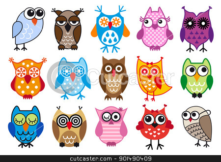 vector owls stock vector clipart, set of colorful owls, vector illustration by Beata Kraus