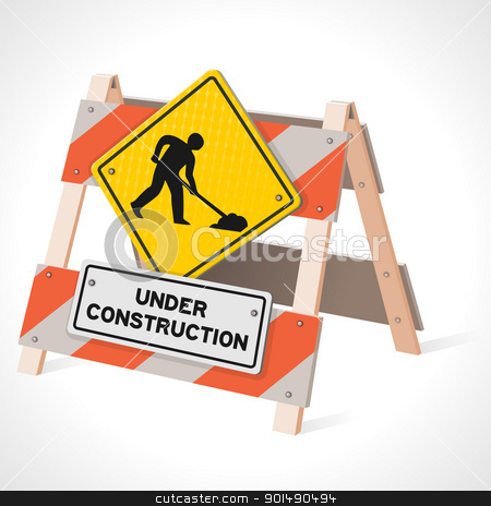 Under Construction Road Sign stock vector clipart, Road Work Ahead sign as a traffic warning in vector format by Vitezslav Valka