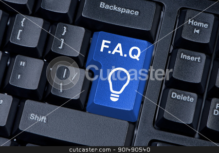 Blue button computer keyboard F.A.Q. internet concept. stock photo, Blue button computer keyboard F.A.Q. internet concept. by Borys Shevchuk
