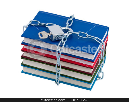 Books chained and closed padlock isolated over white. stock photo, Books chained and closed padlock isolated over white. by Borys Shevchuk