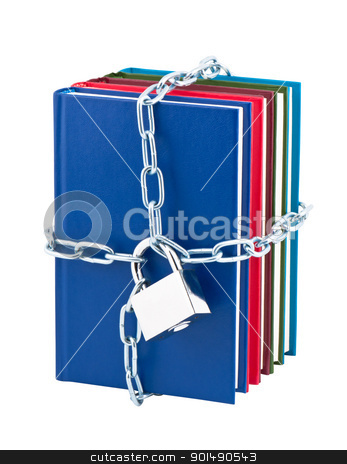 Books closed on padlock and chain isolated on white background. stock photo, Books closed on padlock and chain isolated on white background. by Borys Shevchuk