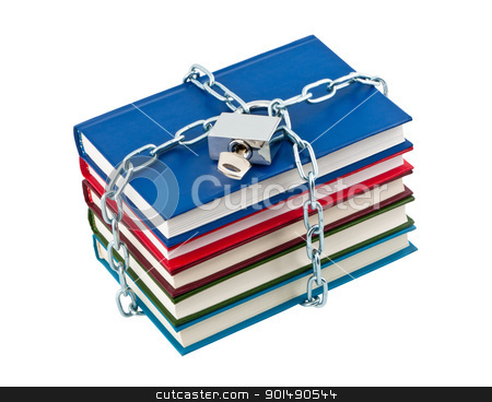 Books in chains closed padlock isolated on white background. stock photo, Books in chains closed padlock isolated on white background. by Borys Shevchuk