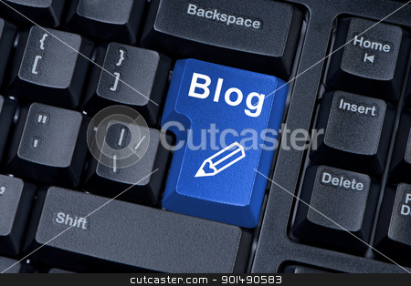 Computer keyboard button with word blog and icon pencil. stock photo, Computer keyboard button with word blog and icon pencil. by Borys Shevchuk