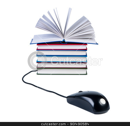 Computer mouse and stack of books isolated on white background. stock photo, Computer mouse and stack of books isolated on white background. by Borys Shevchuk