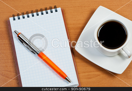 Notebook with pen and coffee on table top view. stock photo, Notebook with pen and coffee on table top view. by Borys Shevchuk