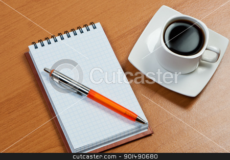 Notebook with pen and coffee on table. stock photo, Notebook with pen and coffee on table. by Borys Shevchuk