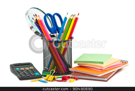 Office appliances for business on white background. stock photo, Office appliances for business on white background. by Borys Shevchuk