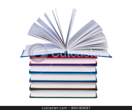 Open book on stack of books isolated. stock photo, Open book on stack of books isolated. by Borys Shevchuk
