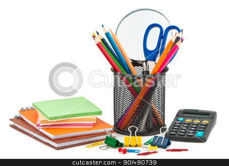 Stationery on white background for office or school. stock photo, Stationery on white background for office or school. by Borys Shevchuk