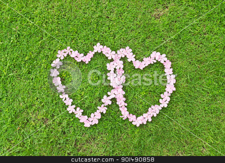 Pink flower love heart stock photo, Pink flower love heart frame isolated on Green grass background by stoonn