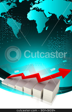 Digital illustration of Graph of business success and growth stock photo, Digital illustration of Graph of business success and growth by dileep