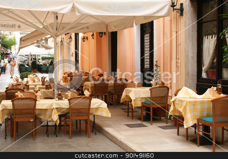 Greece. Corfu island. An open-air cafe  stock photo, Greece. Corfu island. Corfu town. An open-air cafe  by Morozova Oxana