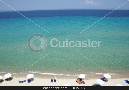 Greece. Halkidiki. Beach  stock photo, Greece. Halkidiki. Umbrellas on the beach  by Morozova Oxana