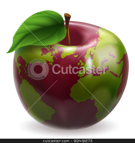 Globe Apple Concept Illustration stock vector clipart, Red and green apple with world globe pattern on skin by Christos Georghiou