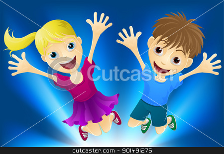 Happy children jumping for joy stock vector clipart, Illustration of a happy boy and girl jumping for joy by Christos Georghiou